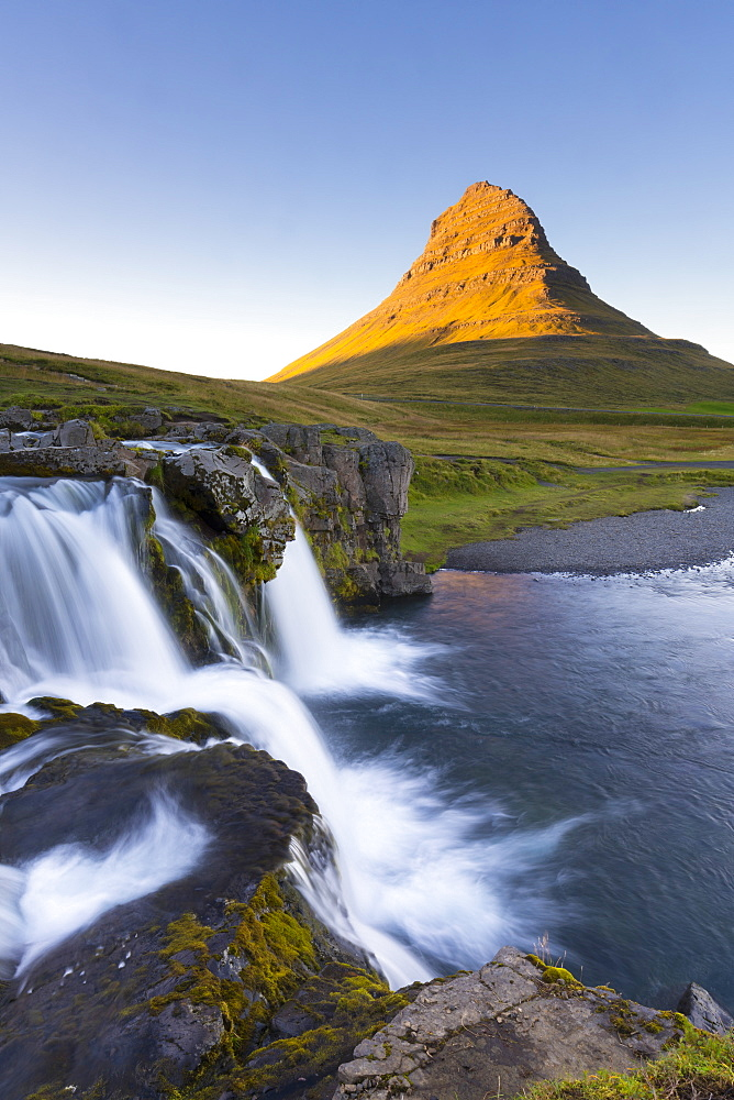 Kirkjufell Mountain and Kirkjufoss Waterfall at sunset, Snaefellsnes Peninsula, Iceland, Polar Regions