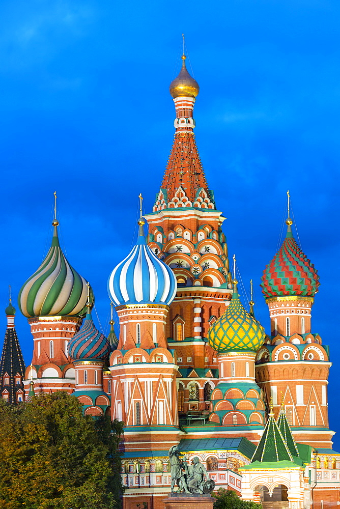 Saint Basil's Cathedral lit up at night, Moscow, Russian Federation