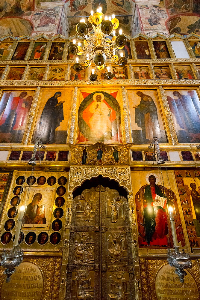 Doorway and Iconostasis inside the Assumption Cathedral, the Kremlin, UNESCO World Heritage Site, Moscow, Russia, Europe