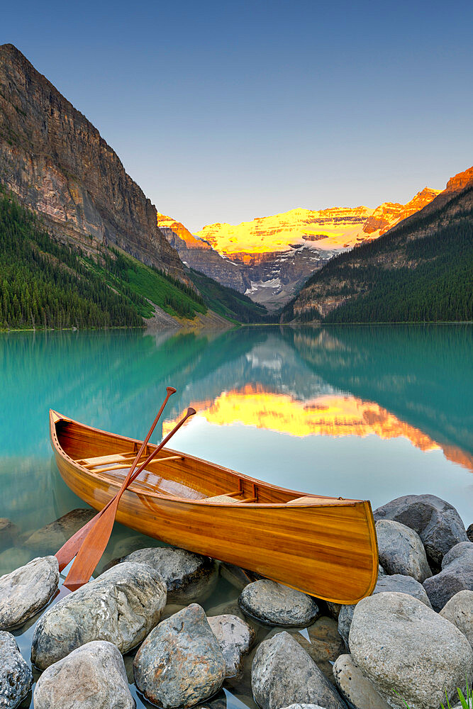 Cedar-Strip Canoe at Lake Louise, Banff National Park, Alberta, Canada - 1132-415