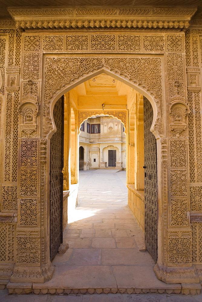 Ornate palace doorway, Jaisalmer, Western Rajasthan, India, Asia