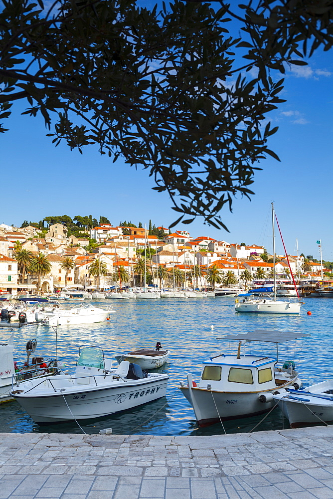 Hvar's picturesque harbour, Stari Grad (Old Town), Hvar, Dalmatia, Croatia, Europe