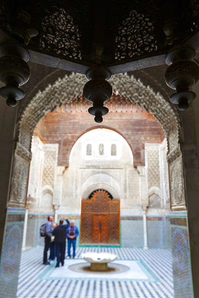 The ornate interior of Madersa Bou Inania, Fes el-Bali, UNESCO World Heritage Site, Fez, Morocco, North Africa, Africa