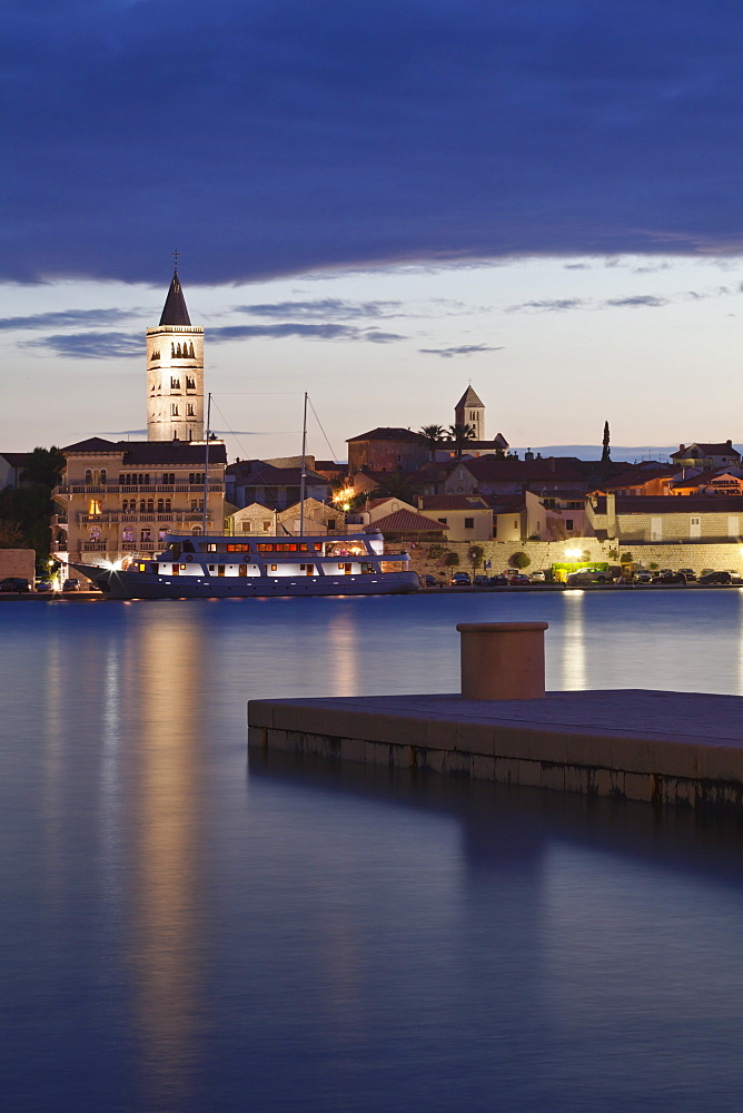 Old town of Rab at dusk, Rab town, Rab Island, Kvarner region, Dalmatia, Adriatic Sea, Croatia, Europe
