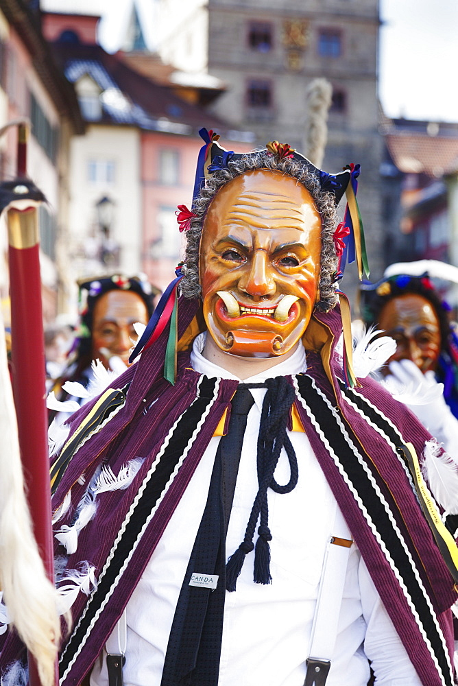 Narrensprung, traditional carnival, Rottweiler Fasnet, Rottweil, Black Forest, Baden Wurttemberg, Germany, Europe