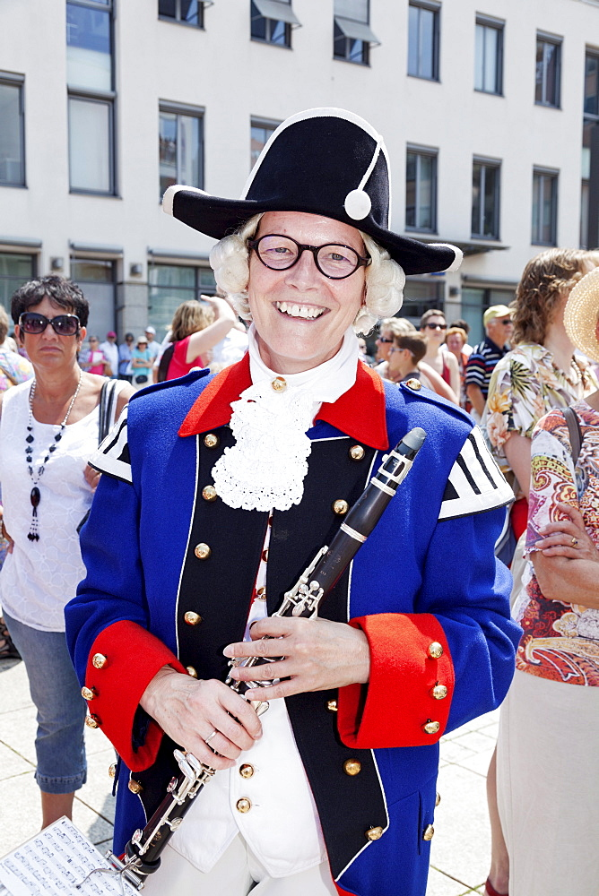 Woman of a band in historical costume at a parade, Fischerstechen, Ulm, Baden Wurttemberg, Germany, Europe