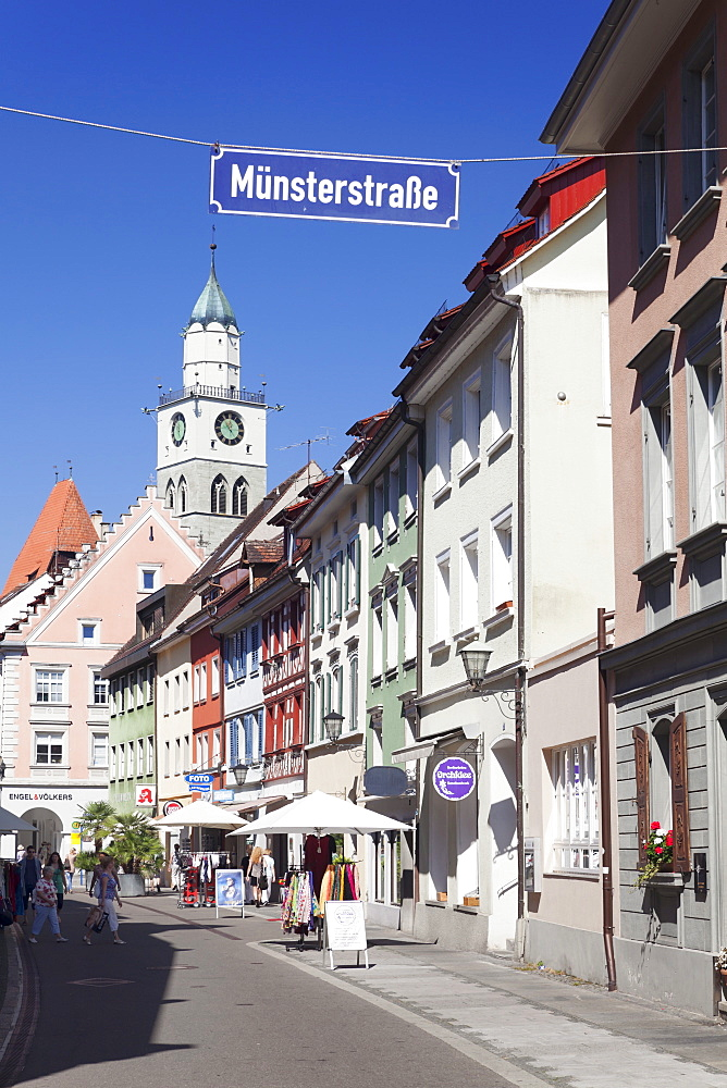 Munsterstrasse and the tower of St Nikolaus Minster, Uberlingen, Lake Constance (Bodensee), Baden Wurttemberg, Germany, Europe