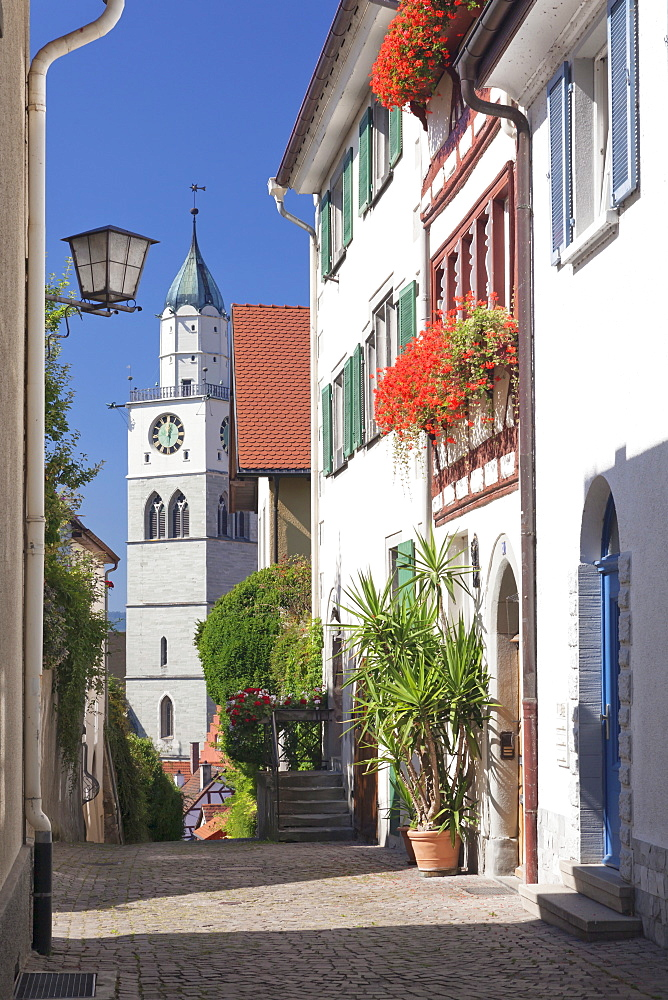 Street in the old town with St. Nikolaus Minster, Uberlingen, Lake Constance (Bodensee), Baden Wurttemberg, Germany, Europe