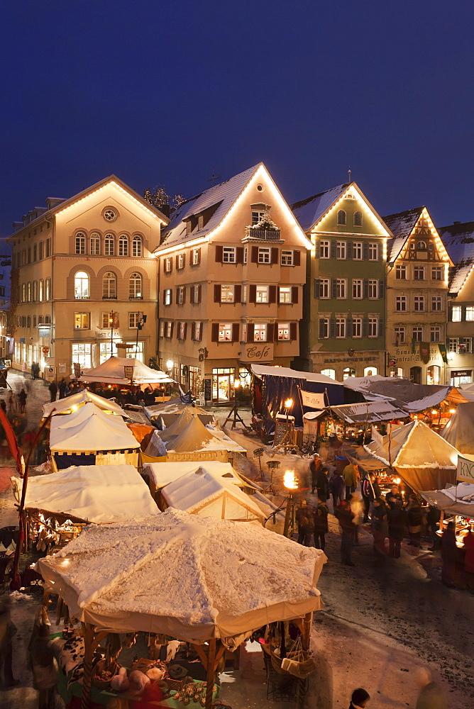 Christmas fair at the marketplace, Esslingen, Baden Wurttemberg, Germany, Europe
