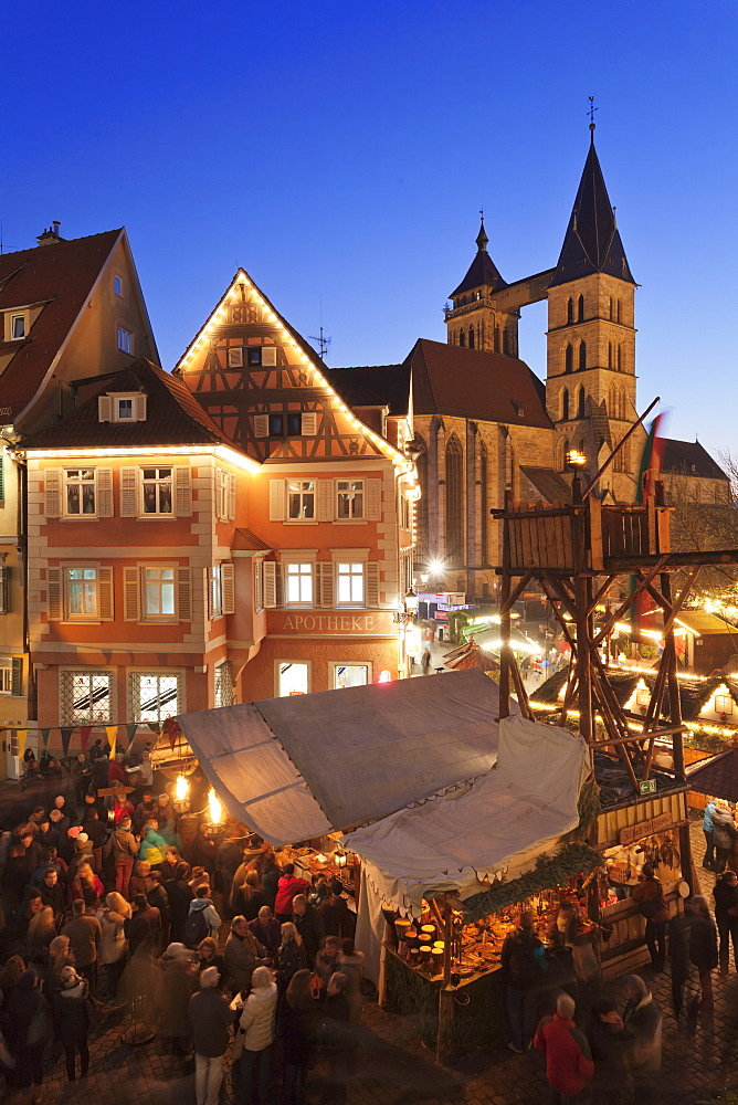 Christmas fair at the marketplace with Sankt Dionys church, Esslingen, Baden Wurttemberg, Germany, Europe