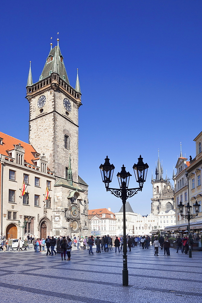 Old Town Hall and Tyn Cathedral, Old Town Square (Staromestske namesti), Prague, Czech Republic, Europe