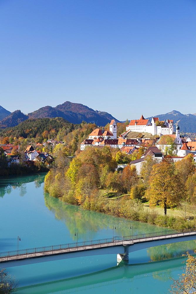 St. Mang's Abbey (Fussen Abbey) and Hohes Schloss castle, Fussen, Allgau, Allgau Alps, Bavaria, Germany, Europe