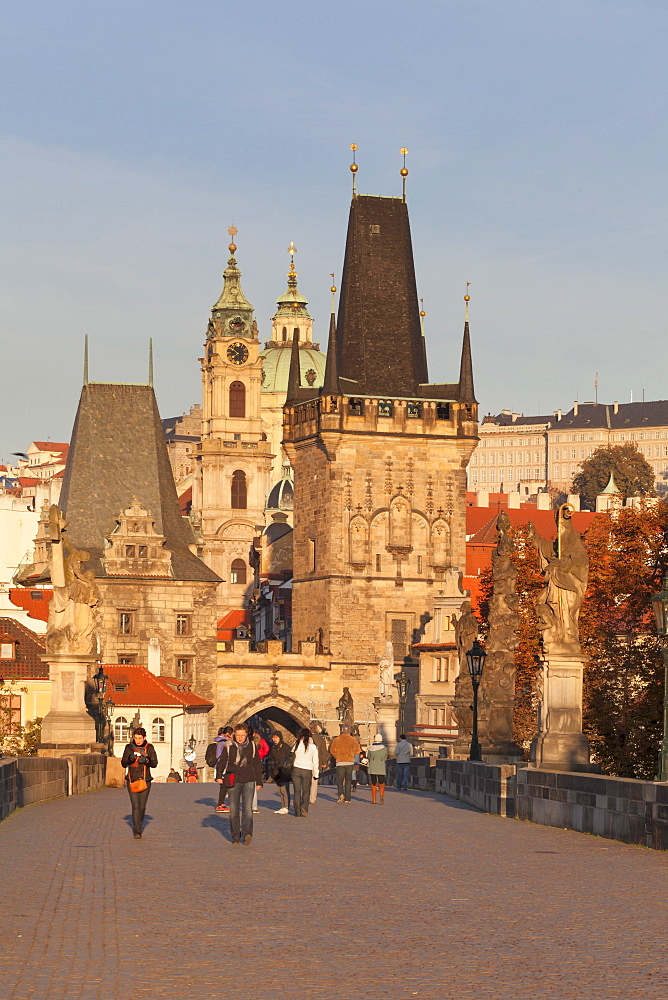 Charles Bridge and Mala Strana Bridge Tower in morning light, UNESCO World Heritage Site, Prague, Bohemia, Czech Republic, Europe