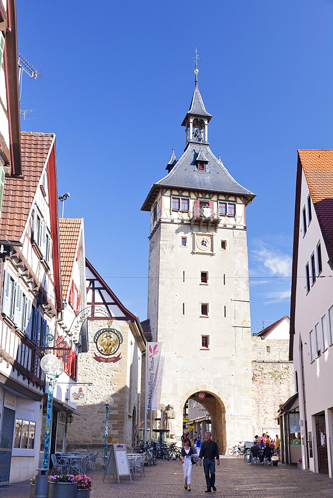 Oberer Torturm Tower, Marbach am Neckar, Neckartal Valley, Ludwigsburg District, Baden Wurttemberg, Germany, Europe