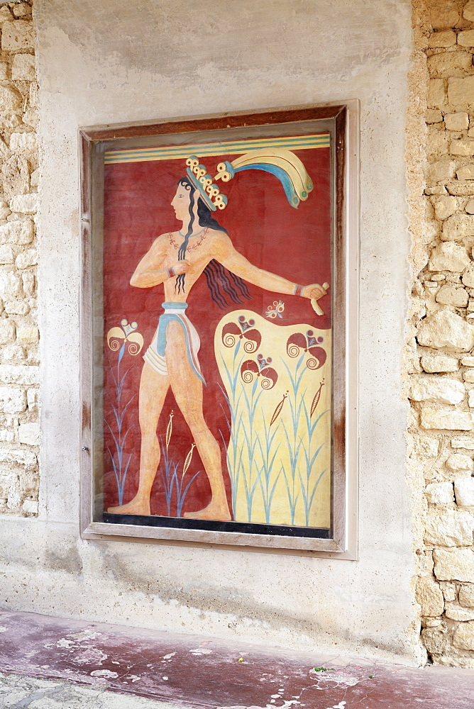 Fresco in Palace of Knossos, Iraklion (Heraklion) (Iraklio), Crete, Greek Islands, Greece, Europe