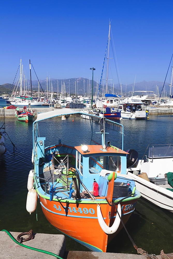 Fishing boat at the port of Ajaccio, Corsica, France, Mediterranean, Europe