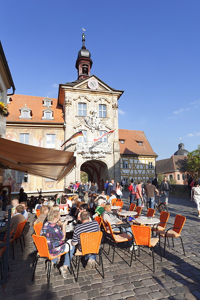 Street cafe, Old Town Hall, UNESCO World Heritage Site, Bamberg, Franconia, Bavaria, Germany, Europe