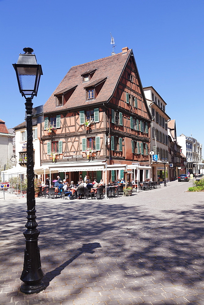 Restaurant in a half-timbered house, Colmar, Alsace, France, Europe