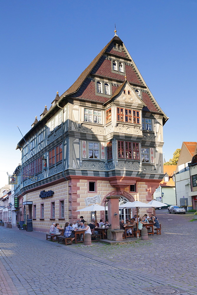 Tavern in a half-timbered house, old town of Miltenberg, Franconia, Bavaria, Germany, Europe
