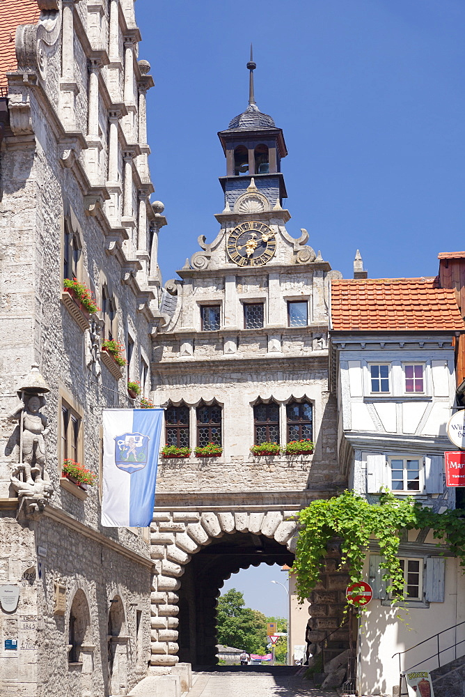 Maintor gate, Town Hall, Marktbreit, Lower Franconia, Bavaria, Germany, Europe