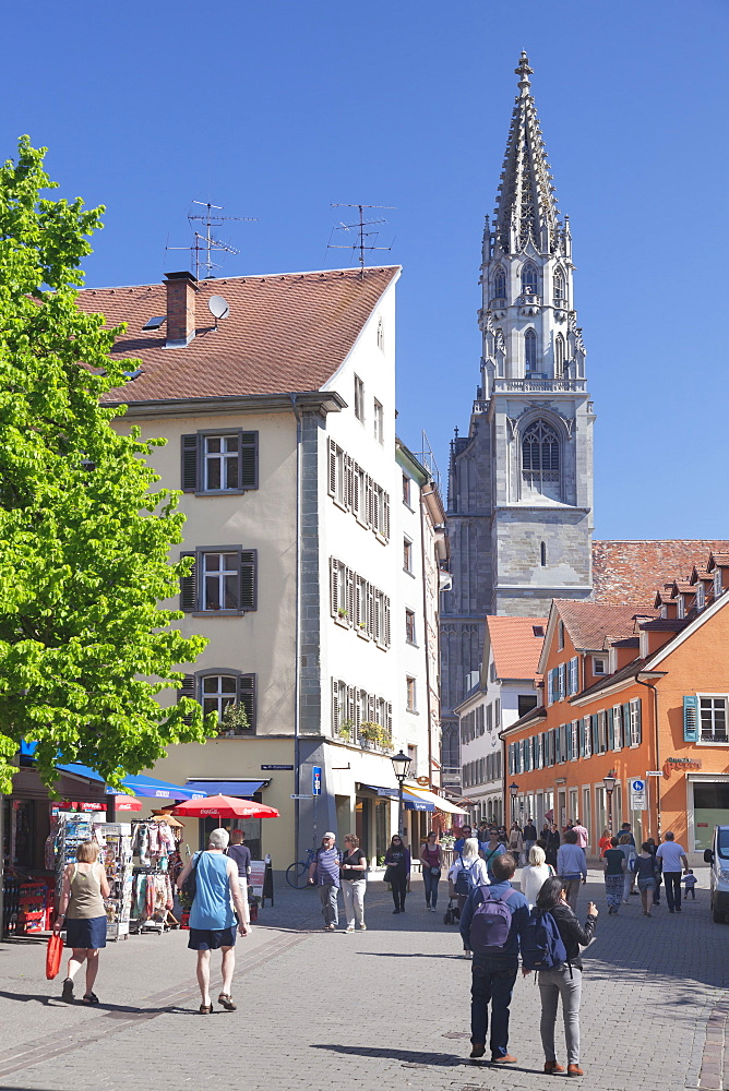 Pedestrian area and cathedral, Konstanz, Lake Constance, Baden-Wurttemberg, Germany, Europe
