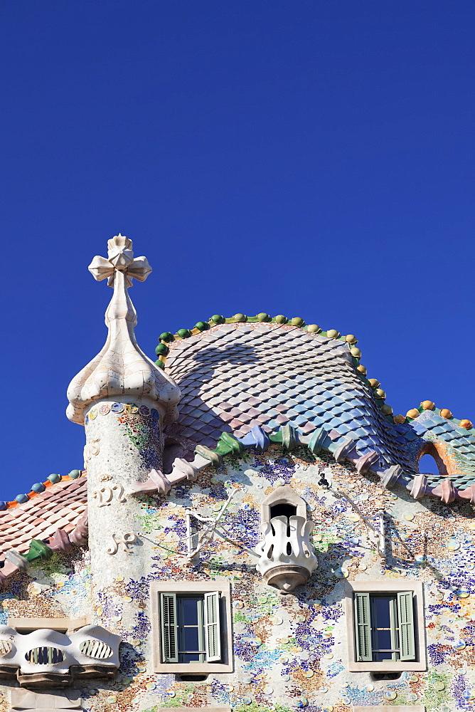 Casa Batllo, architect Antonio Gaudi, Modernisme, UNESCO World Heritage Site, Eixample, Barcelona, Catalonia, Spain, Europe