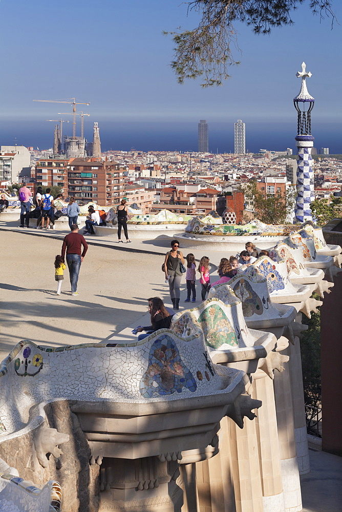Parc Guell, UNESCO World Heritage Site, Modernisme architect Antoni Gaudi, Barcelona, Catalonia, Spain, Europe