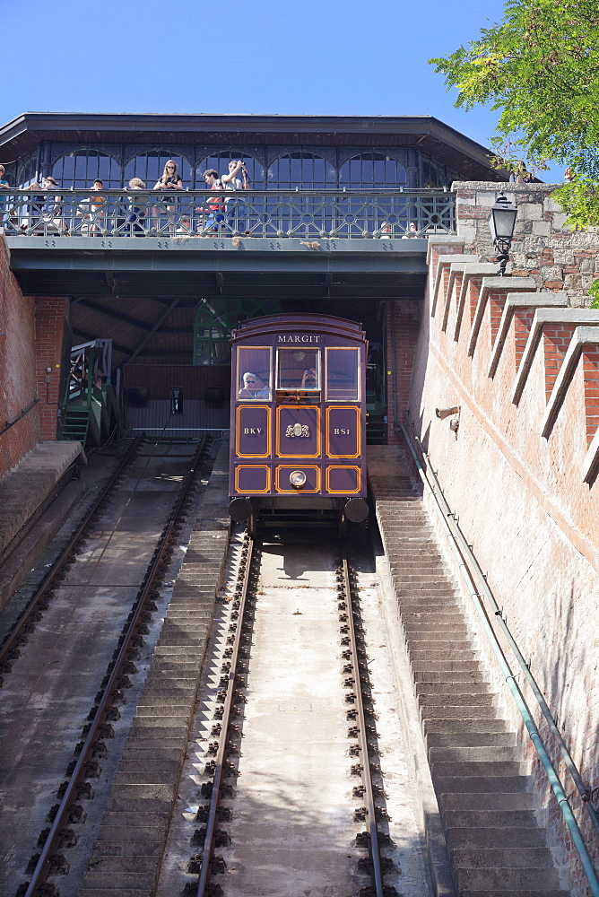 Funicular at Castle Hill, Buda, Budapest, Hungary, Europe