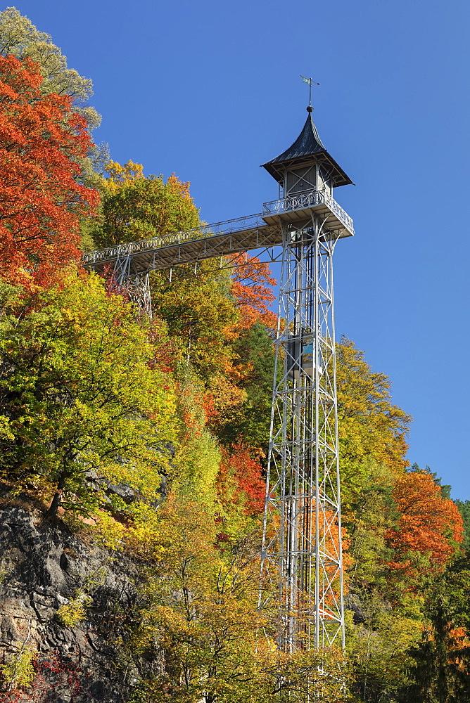 Elevator, art nouveau, Bad Schandau, Elbsandstein Mountains, Saxony Switzerland, Saxony, Germany - 1160-4029