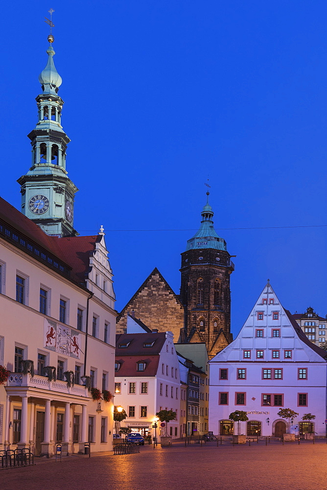 Townhall, Canaletto Building and St.Marien parish church at the market place, Pirna, Saxony Switzerland, Saxony, Germany