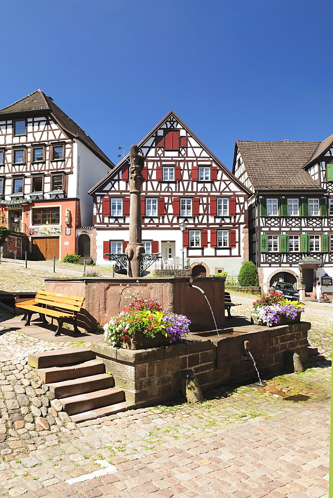 Half-timbered houses, market place, Schiltach, Black Forest, Kinzigtal Valley, Baden-Wurttemberg, Germany, Europe