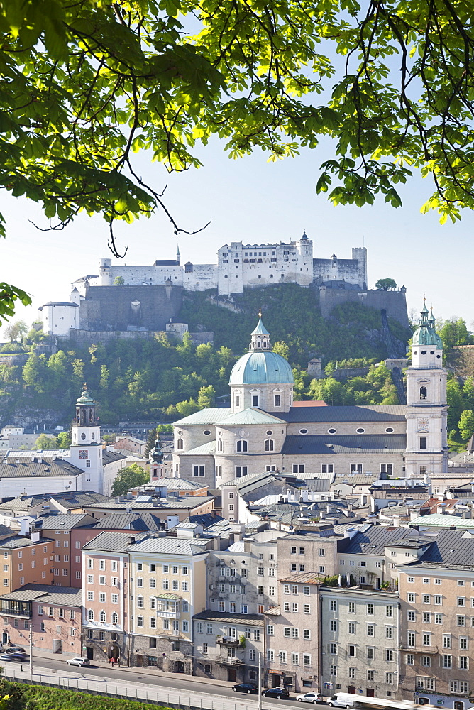 High angle view of the Old Town, UNESCO World Heritage Site, with Hohensalzburg Fortress, Dom Cathedral and Kappuzinerkirche Church, Salzburg, Salzburger Land, Austria, Europe