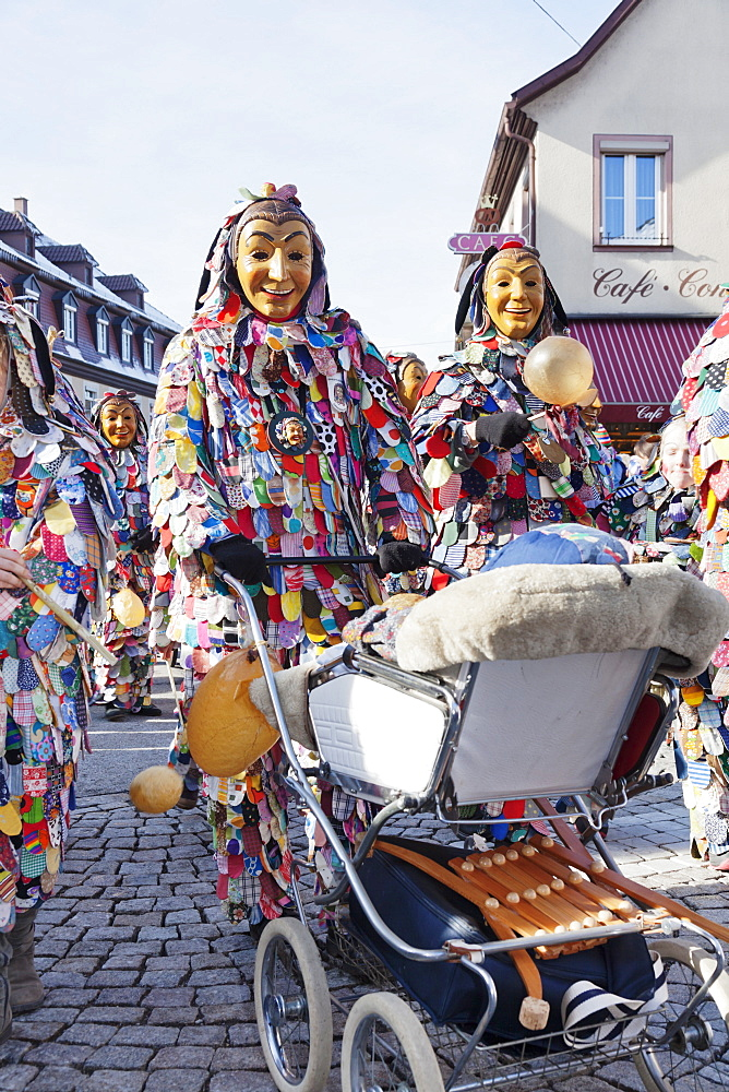 The figure of the Spattlehansel, Swabian Alemannic Carnival, Gengenbach, Black Forest, Baden Wurttemberg, Germany, Europe