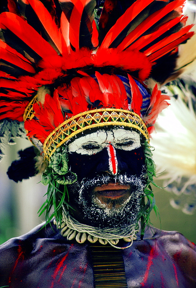 Bearded tribesman wearing war paints and feathered headdress during  a gathering of tribes at Mount Hagen in Papua New Guinea