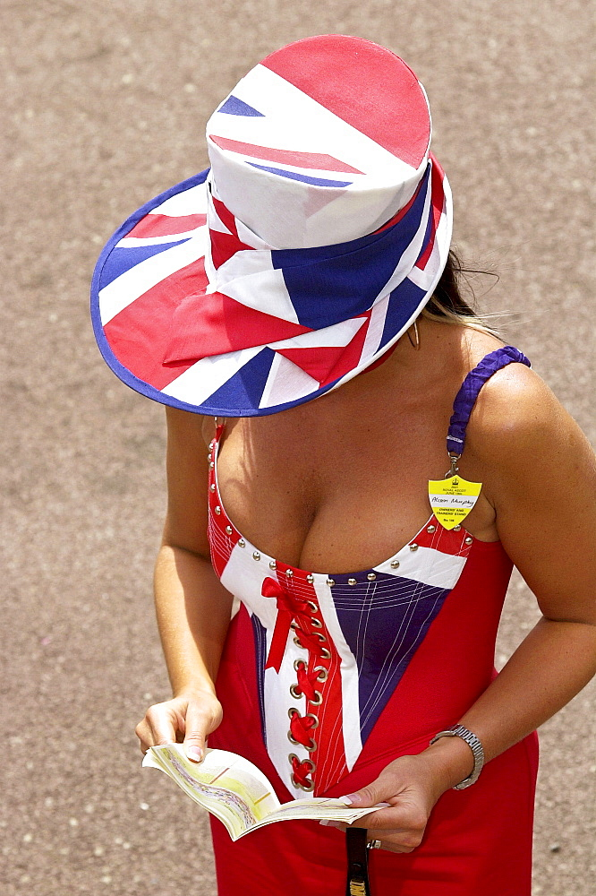 Royal Ascot fashions, Union Jack flag outfit and hat at Ascot Races on the first day