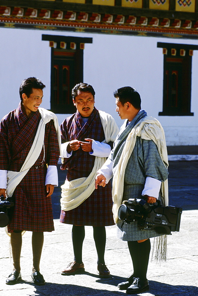 Press corps with video cameras at the Royal Palace, Bhutan