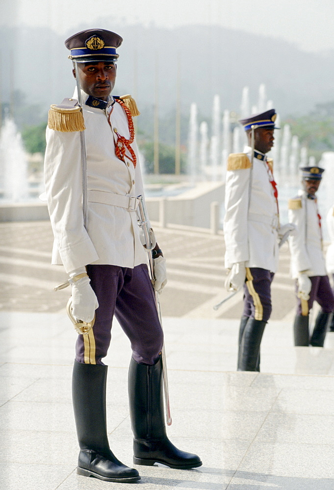 Presidential guard soldiers in ceremonial uniform with swords in Cameroon, West Africa