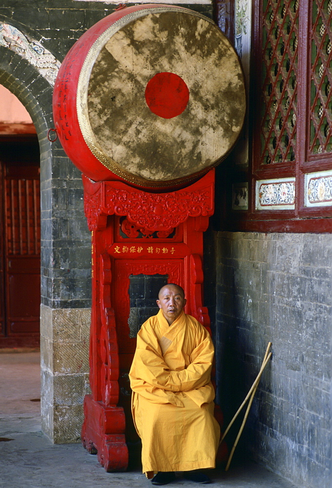Buddhist monk at Huating Temple, China