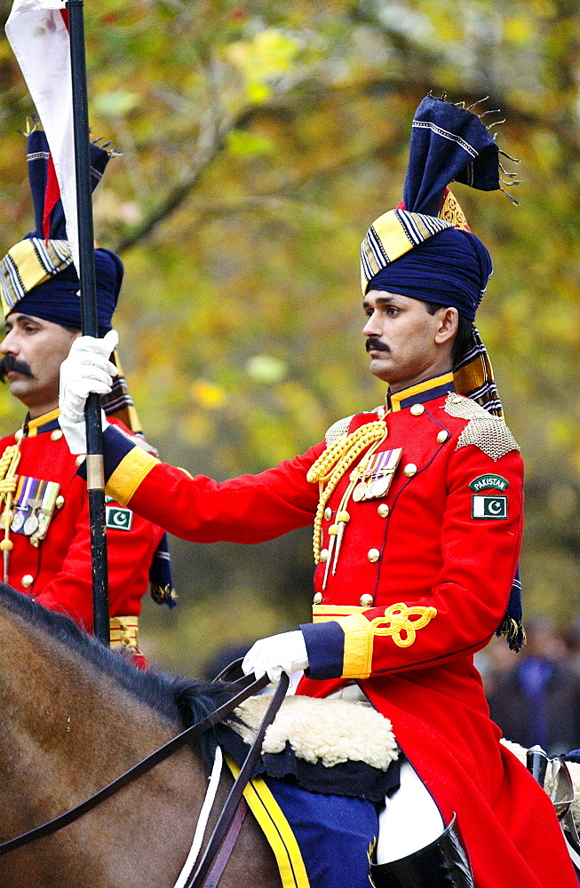 Pakistan mounted guard attending ceremony in London to unveil memorial to Commonwealth military who fought in the World War.