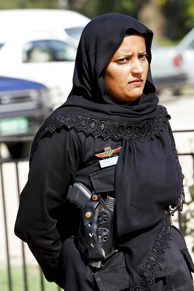 Pakistani policewoman on duty in Rawalpindi, Pakistan