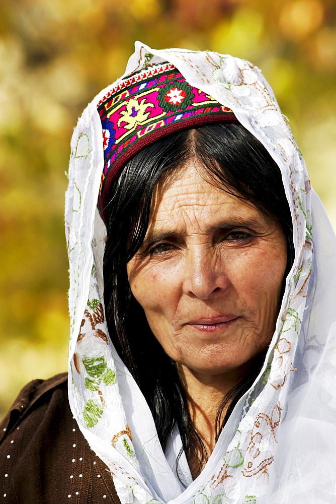 Woman in mountain village of Altit in Hunza region of Karokoram Mountains, North Pakistan