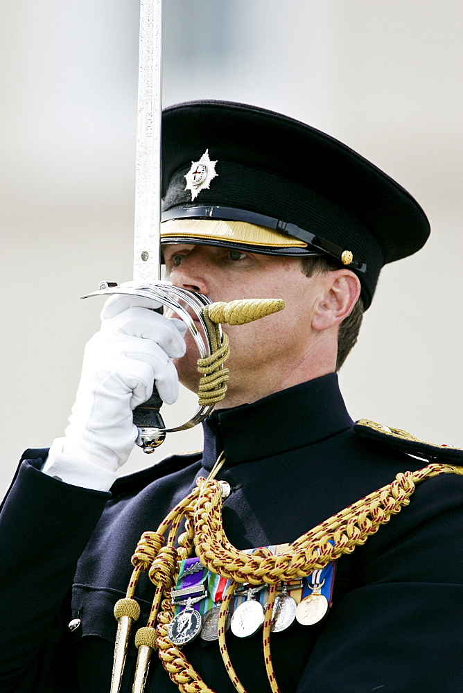 Officer taking the Passing Out Parade at Sandhurst, Surrey, United Kingdom.