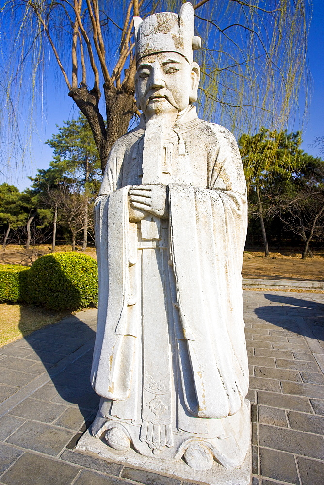 Statue of a high civil official, advisor to the emperor, on Spirit Way at Ming Tombs site, Changling, Beijing, China