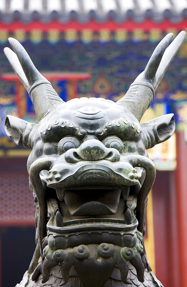 Bronze statue of a Qilin legendary mythical animal at The Summer Palace, Beijing, China