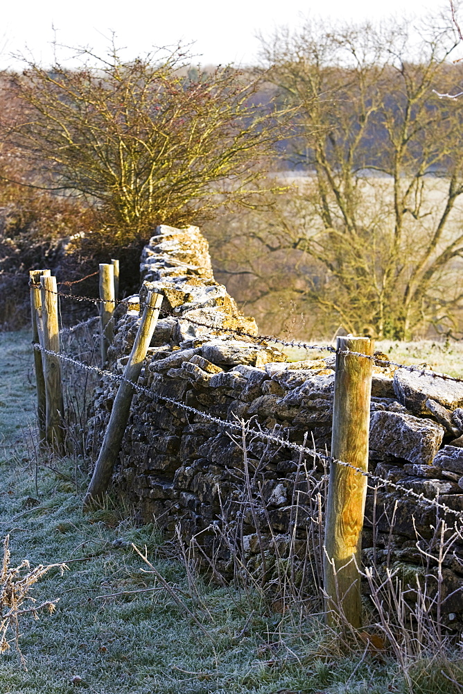Hoar frost on barbed wire fence and dry-stone wall, Oxfordshire, England, United Kingdom