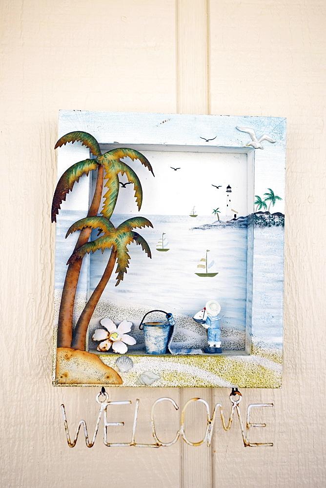 Welcome ornament of beach scene at beachfront holiday home, Anna Maria Island, Florida