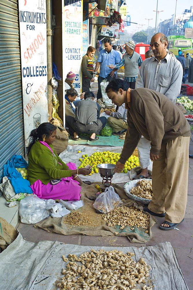 Old Delhi, Daryagang fruit and vegetable market - ginger on sale, India