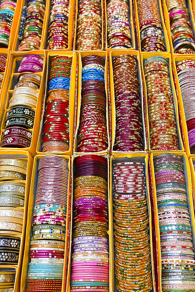 Traditional Indian bangles at The Amber Fort a Rajput fort built 16th Century in Jaipur, Rajasthan, Northern India - 1161-4921