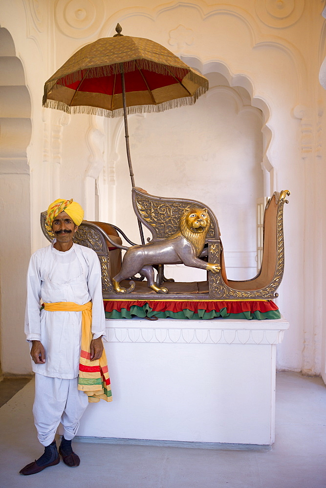 Hindu ceremonial guard with elephant howdah 20th Century exhibit at Mehrangarh Fort at Jodhpur, Rajasthan, Northern India