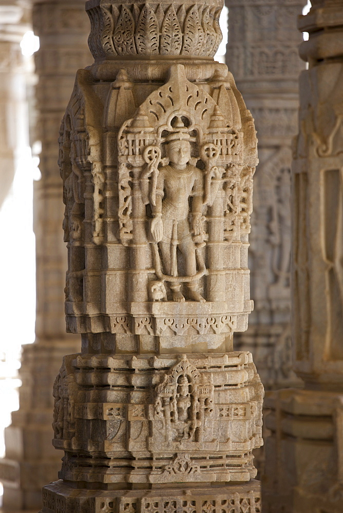 Stone carvings and marble pillars at The Ranakpur Jain Temple at Desuri Tehsil in Pali District of Rajasthan, Western India